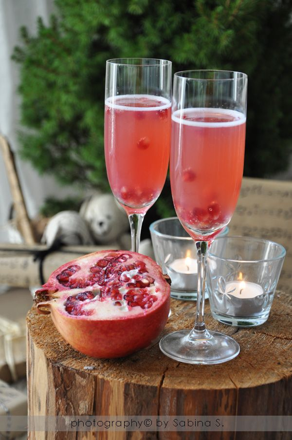 Christmas aperitif. sparkling wine, apple juice and pomegranate