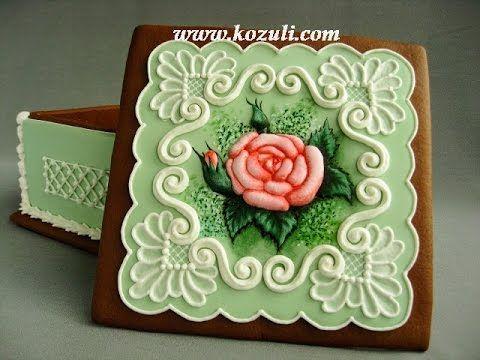 VIDEO. @kozuli_com  // 3D Cookies. Cookie box. Mother's Day Cookies. Flower cookies. Roses Cookies. Gingerbread flowers. Piping Lace Cookie. Royal icing cookies. Decorated cookies. Cookie decorating with royal ising // Мастер-класс по росписи этой пряничной шкатулки на www.kozuli.com / Пряничная шкатулка / 3D-пряники / Объемные пряники / Айсинг. Роспись пряников, имбирного печенья глазурью.  Расписные пряники.