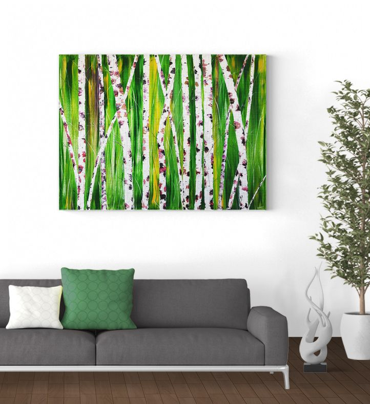 """Dramatic Birches Large 30"""" x 40"""" x .75 abstract artwork exhibiting dramatized birches with tones of pinks contrasting the fading luscious emerald forest exuding energy and calm. https://www.etsy.com/ca/listing/486410615/large-abstract-art-acrylic-painting?ref=listing-shop-header-2"""