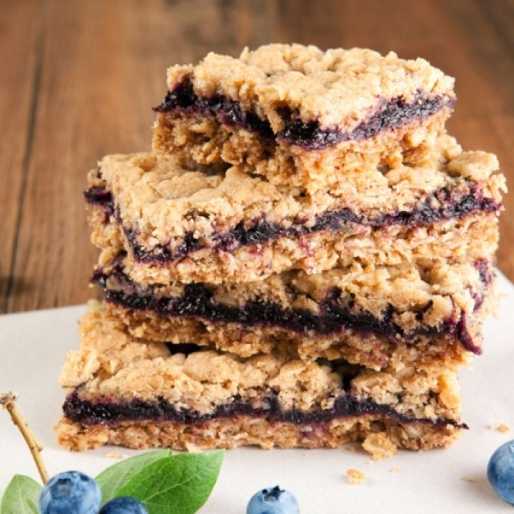 A Delicious recipe for blueberry oatmeal squares, A perfect snack or serve with vanilla ice cream for a yummy dessert.