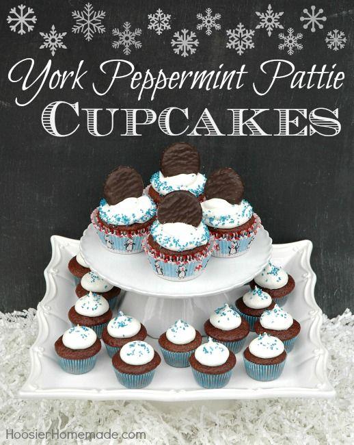 York Peppermint Pattie Cupcakes Recipe :: HoosierHomemade.com