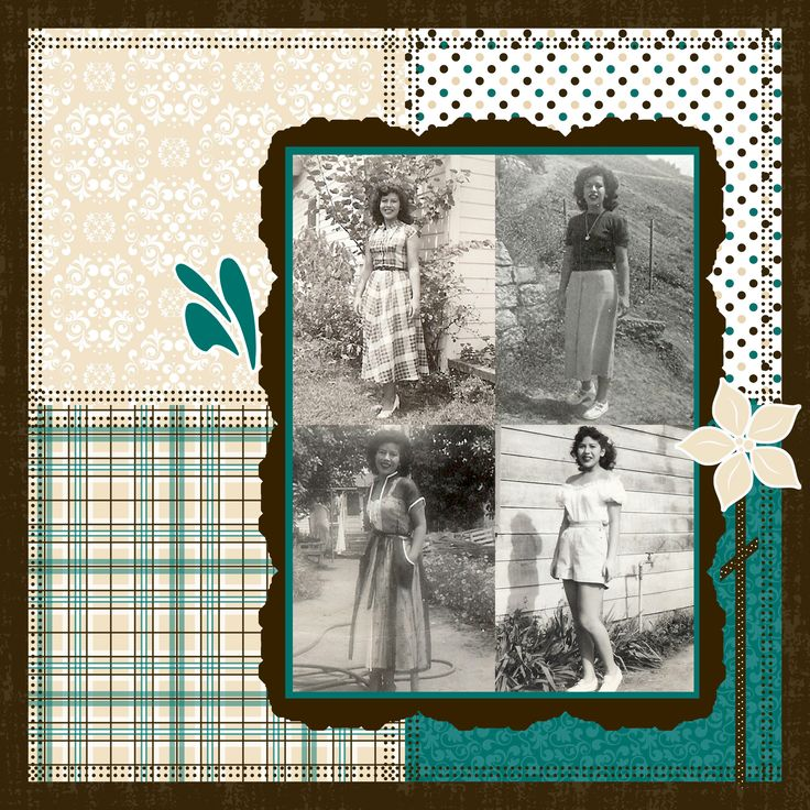 Heritage, pg. 2 ~ Different photo shapes were used for this page but the color palette remains consistent for a unified look. Add titles, journaling and photo IDs for an even better heritage layout.