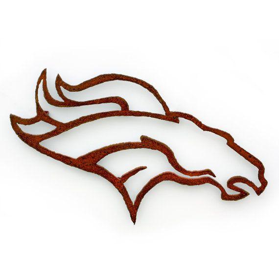 Denver Broncos Emblem horse wall art - 21 wide - NFL bronco metal steel orange with rust patina    Measures 21 wide X 12.5 tall. Stand offs