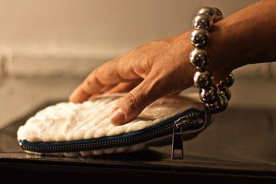small white clutch bag White Bridal Wristlet by vquadroitaly