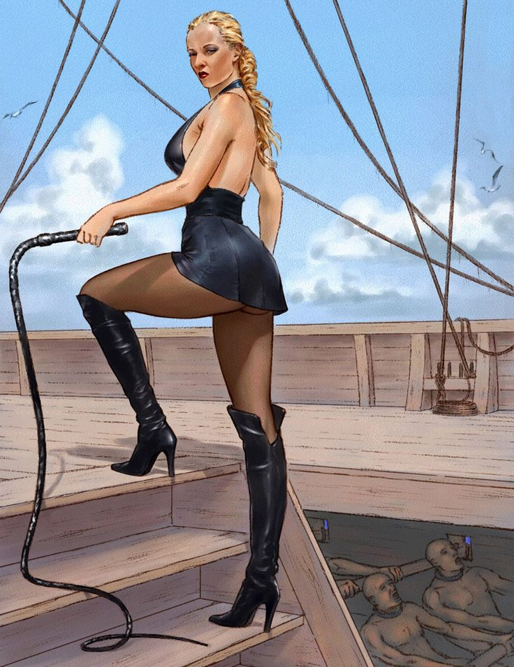 """Art by Nanshak. - The galley mistress with a whip threatening the rowers. - Board """"Art-Women in Black"""". -"""