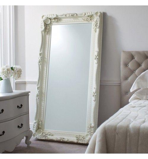 Carved Louis Leaner Mirror Cream