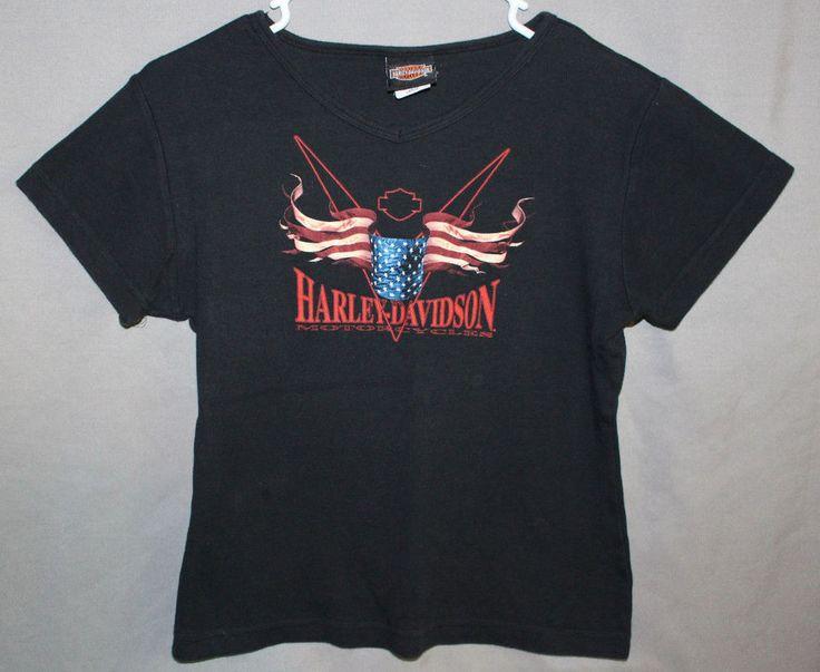 Harley Davidson T Shirt Womens Large Black Treasure Coast Stuart Florida