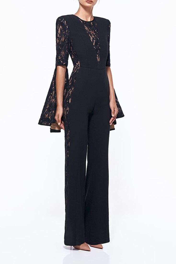 6c60be7b90a Hego Women s Lace Flare Sleeve Black Evening Jumpsuits