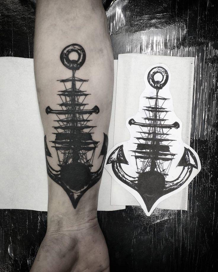 Caravela âncora. #tattoo #tattooed #caraveltattoo #anchortattoo #blackwork…