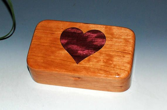 Cherry Wood Treasure Box with a Purple Heart Inlay Heart - Small Wood Box Treasure Box Keepsake Box Small Jewelry Box Wooden Box Boxes by BurlWoodBox