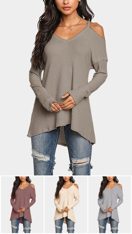 Cold Shoulder Long Sleeves T-shirts with High Low Hem