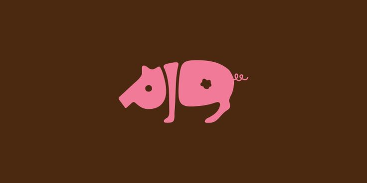 This is such a cool typography example, because the letters PIG actually look like a pig. This is also another instance where color comes into play, which is definitely important when all you have to work with is words.