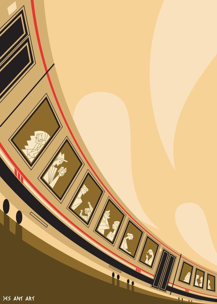 Train tracks by JesAntArt illustrations realized for a contest #travel #train #tracks #windows #yellow #illustration