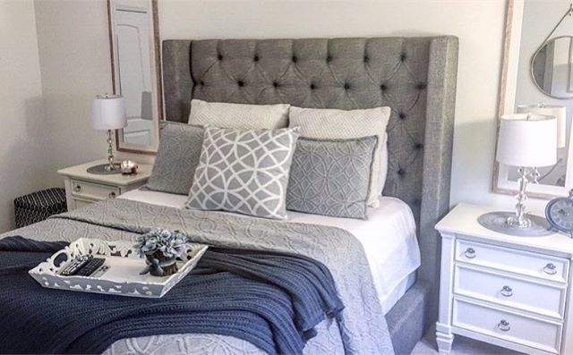This Room Is Giving Us Designinspo For Days That Bed S The Sorinella And Yes You C Upholstered Bed Master Bedroom Upholstered Bed Decor Grey Upholstered Bed