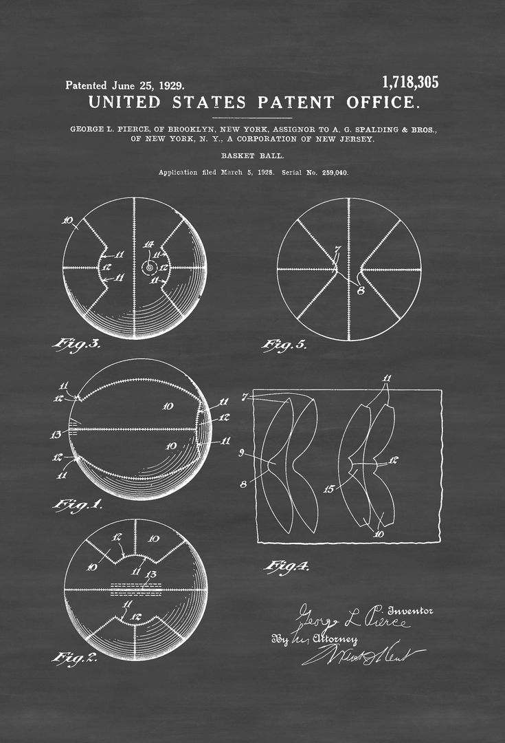 A patent print poster of a Basket Ball invented by George L. Pierce for Spalding.  The patent was issued by the United States Patent Office on June 25, 1929. Spalding is an American sporting goods …