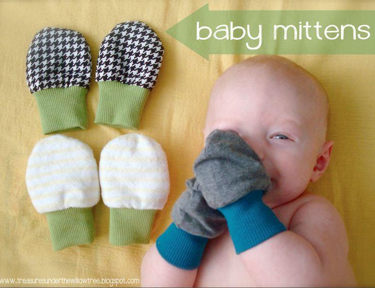 Baby-Fäustlinge: ohne Schnittmuster, aber Anleitung zum Erstellen der passenden Zuschnitte. Englisch.