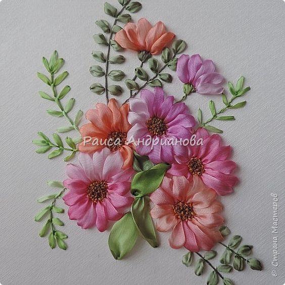 Картина панно рисунок Вышивка Космея шелковыми лентами Ленты фото 5: