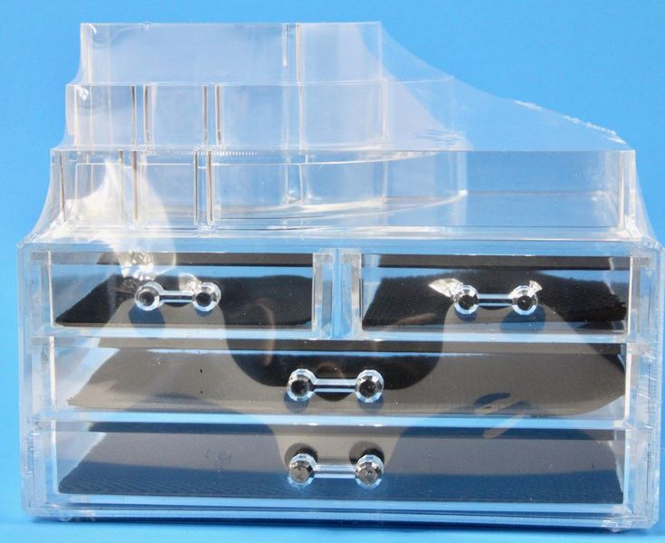 Clear Acrylic Makeup Storage Case Organizer Jewelry Box 4 Lined Drawers New #Unbranded