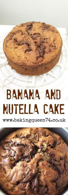 Banana and Nutella Cake ❤︎ Leave a like, save this pin and follow more content if you loved this