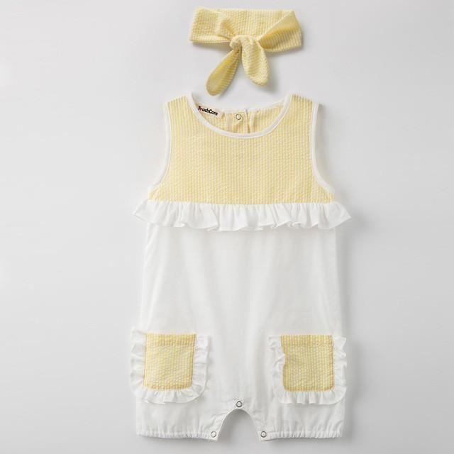 2Pc Headband+Jumpsuit Baby Girl Romper Summer Pockets Overalls for Children