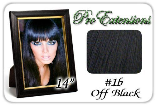 """Pro Extensions 14"""" X 39"""" #1b Off Black 100% Clip on in Human Hair Extensions by ProExtensions. $69.99. Beautiful Hair In Seconds.. 14"""" clip in hair extensions.. Increase length and fullness.. Clips On To Existing Hair.. 100% human hair. No synthetic material.. Increase hair length and fullness with this health and beauty accessory. Beautiful hair in seconds with these 100% clip-on human hair salon style wefts. Raquel Welch and Jessica Simpson inspired hairdo extensions. At l..."""