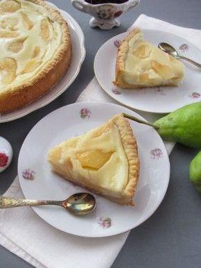 Вкуснейший пирог с грушей и заварным кремом.
