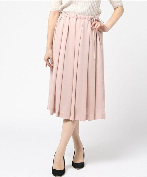 HELIOPOLE(エリオポール)の「◆2017SS新作◆プリーツサテンスカート(スカート)」|ピンクベージュ