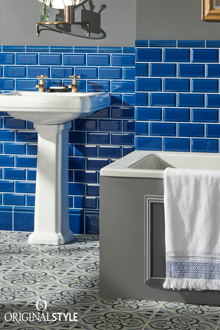 Wall tiles by Original Style, Artworks Range, Windsor Blue Metro Tiles. Confidence in combining colours is key for this bathroom look, marrying blues with greys and adding warm accents of cooper.
