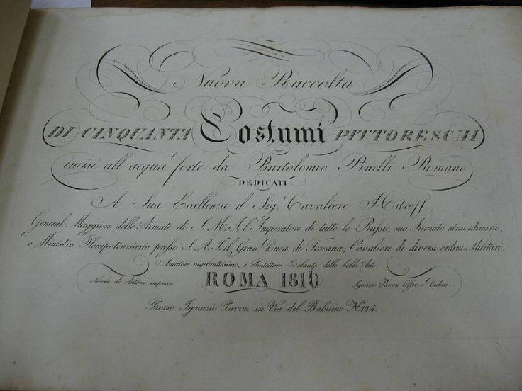 Гравированный титульный лист альбома Бартоломео Пинелли по прозванию Романо Nuova raccolta di cinquanta costumi pittoreschi. Roma, 1816. #antiquebook #devisu #eauforte