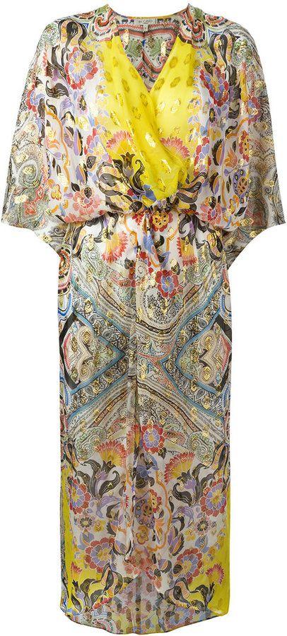Etro - robe de plage à motif cachemire - women - Soie/fibre métallique - M
