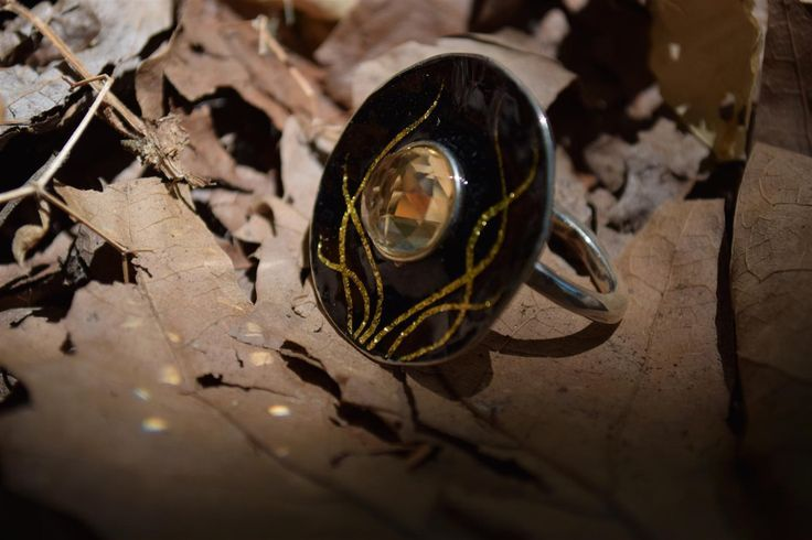 Sterling Silver Ring, Black Enamel Ring, Citrine Gemstone - Black Hole Of Universe, Giampouras Collections - pinned by pin4etsy.com