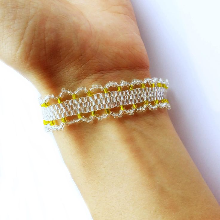 Dainty White and Gold Bracelet, Peyote Beading, Nordic Snowfall, Bridal Jewelry, Transparent Glass Golden Metallic Seed Beads, Gift For Her by LakeviewNeedlework on Etsy