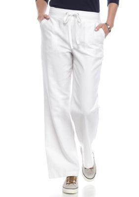 Kim Rogers Women's Petite Size Linen Beach Pants - White - Pxl