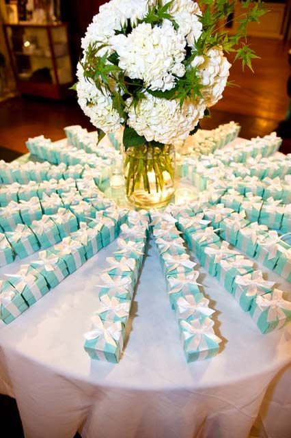 Tiffany design favor boxes ~available at BoxandWrap.com<-------- remember this Mehgan!!!