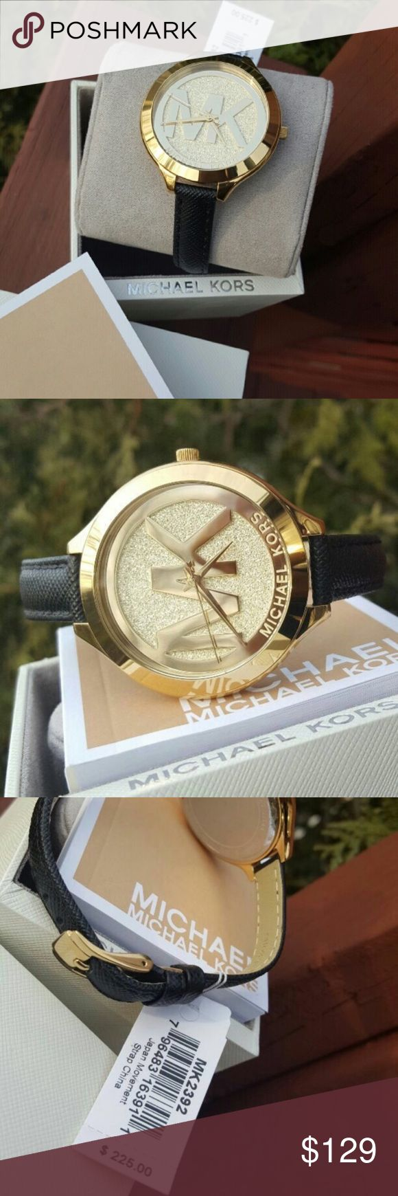 New Michael Kors Glam MK Runway watch MK2392 🔥 LAST 1! 🔥 Authentic MK2392 / Model: Runway / Retail: $225 / Glam gold stainless steel with Black saffiano genuine leather band 💎 MK engraved dial 💎 42mm case / New with Michael Kors watch box and owners booklet included / 5 ATM / UPC: 796483076914 😍 What a beauty! 😍 No trades. Buy now  or offer only. Shipped same business day. Michael Kors Accessories Watches