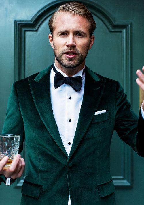 Latest Coat Pant Designs Green Velvet Suits Men Slim Fit Gentle