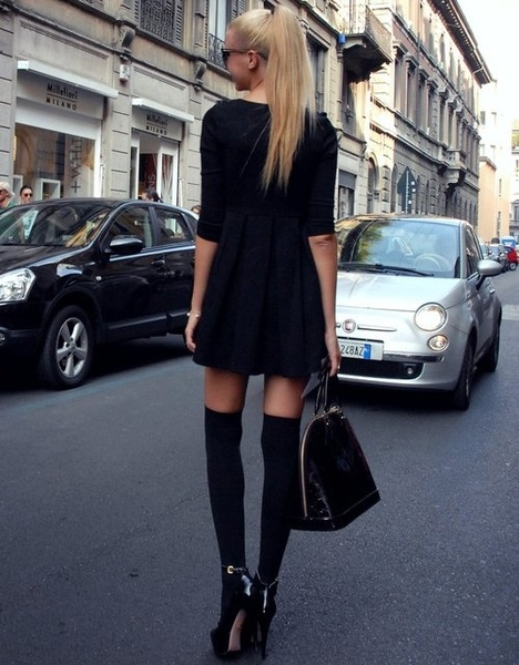 Black Chic: Knee High, Fashion, Thigh High, Street Style, Dress, Outfit, Socks, Black
