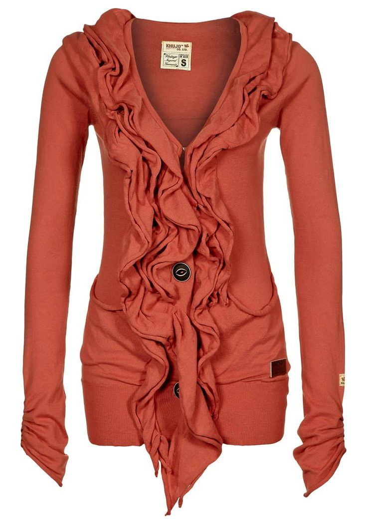 Love this sweater for fallFashion, Style, Burnt Orange, Closets, Ruffles Cardigans, Fall Winte, Fall Sweaters, Ruffles Sweaters, Coral Cardigans