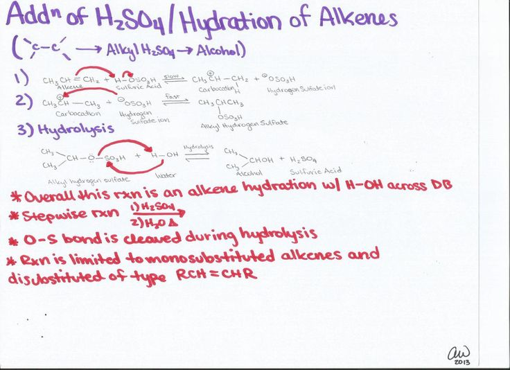 Addition of Sulfuric Acids and Hydration of Alkenes