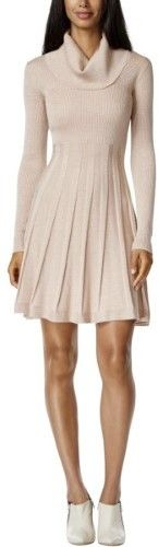 Calvin Klein Women's Cowl Neck Fit & Flare Sweater Dress (L, Blush Gold)