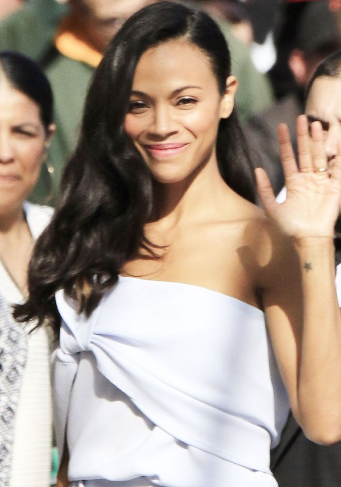 """Zoe Saldana seen arriving at the ABC studios for """"Jimmy Kimmel Live!"""" in Los Angeles on April 17, 2017"""