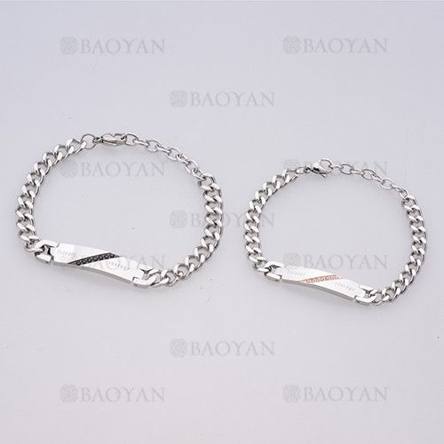 3808da5c2a69 brazaletes de moda de plateado en acero para pareja-SSBTG1125140 ...
