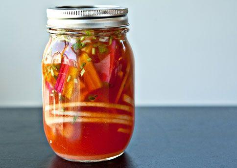 Sriracha fridge picklesPickles Recipe, Fridge Pickles, Fun Recipe, Rainbows Chard, Refrig Pickles, Bon Appetit, Sriracha Fridge, Sriracha Sauces, Bonappetit