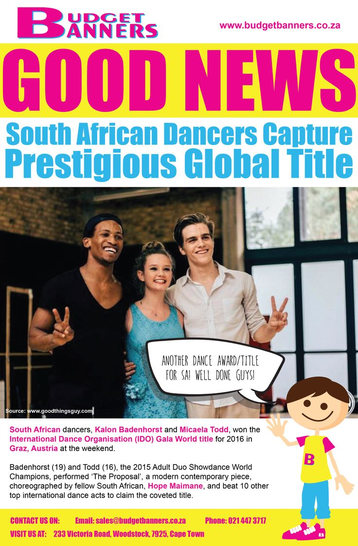 Congratulations to our South African dancers Kalon Badenhorst  and Micaela Todd for winning the IDO Gala World Event for 2016 in #Austria.