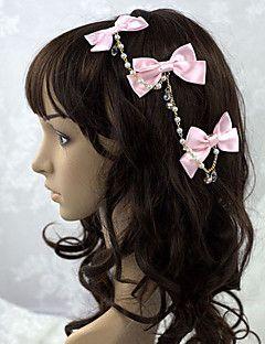 Smycken+Söt+Lolita+Huvudbonad+Prinsessa+Rosa+lolita+tillbehör+Huvudbonad+Rosett+Enfärgat+För+Dam+Satäng+–+SEK+Kr.+702