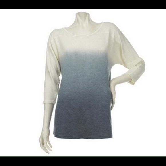 Lisa Rinna Housewives of Beverly Hills Dip Dye Top From Lisa Rinna, Belle Gray 3/4 Sleeve Dip Dye Tunic.  One of this Housewife of Beverly Hills favorite tops.  The ombré design is naturally slimming. Gently worn, twice, it is in excellent condition. Lisa Rinna Belle Gray Tops