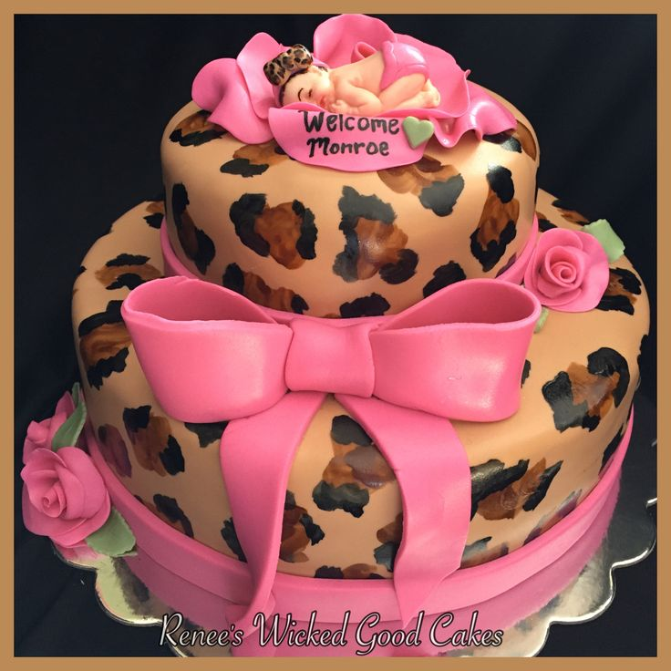 Cheetah Baby shower cake  Welcome Monroe! Renee's WICKED GOOD Cakes - like us on facebook!  Follow us on instagram @renees_wicked_good_cakes