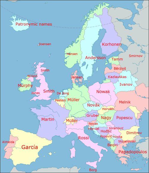 Les noms de familles par pays en Europe nevver: European last names