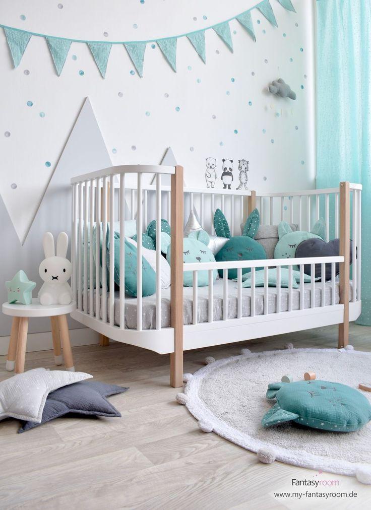Kinderzimmer in Mint, Jade & Grau grau Jade