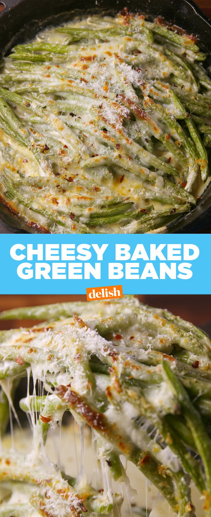 These Cheesy Baked Green Beans will steal the spotlight this Thanksgiving. Get the recipe at Delish.com.